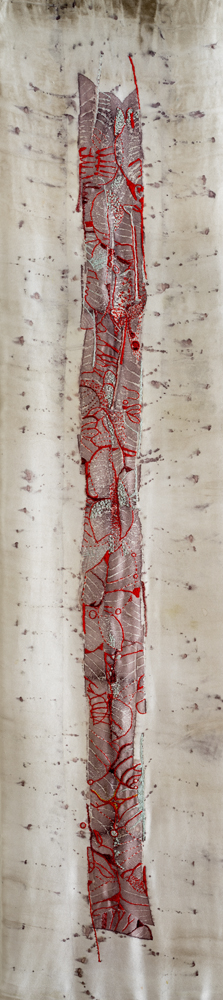 """Leaf Asemic (Homage to Goldsworthy)"" hand stitching on plant-dyed silk, 42""x11"" (details follow)"