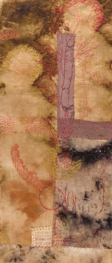 """The Meanings of a Circle"" Hand stitching on hand-dyed linen 11""x22"" (details follow)"