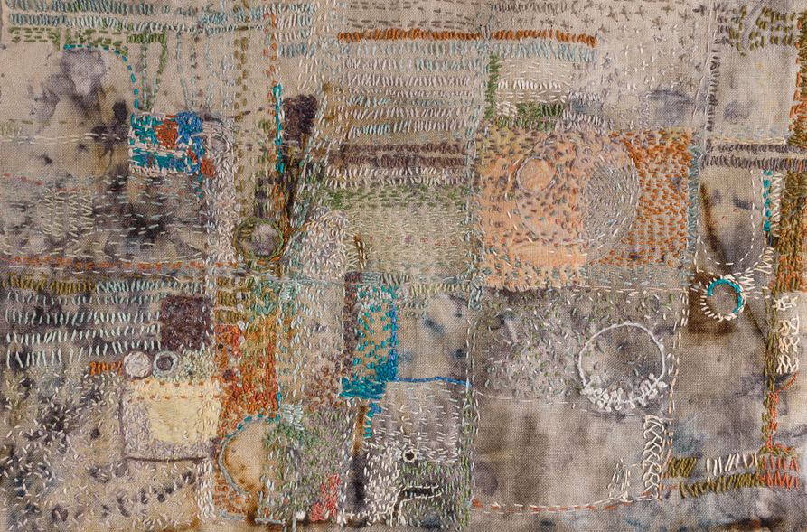 """September"" Hand stitching on plant and rust dyed linen, 7""x12"""