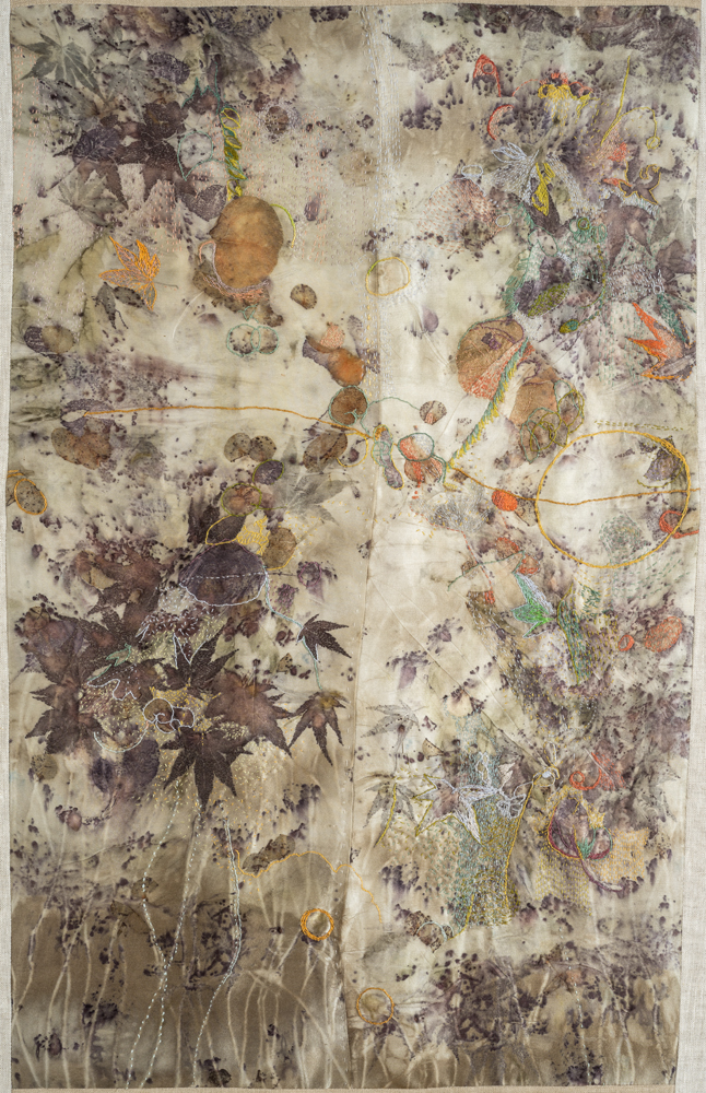 """Midsummer"" hand stitching on plant-dyed silk, 32""x17"" (details follow)"