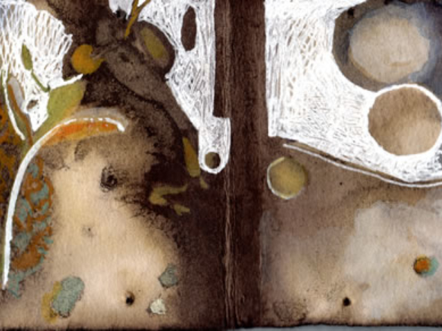"""Moonlit"" Mixed media on plant-dyed paper, 2.5""x7.5"""