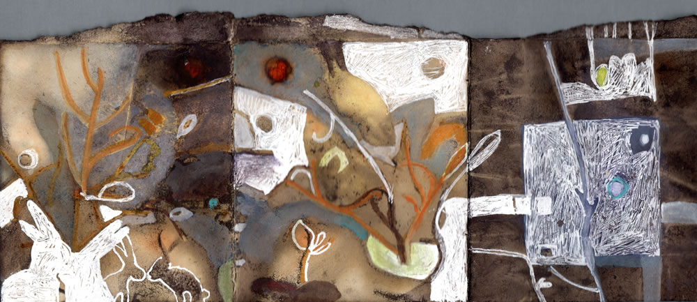 """Rabbit Row"" mixed media on plant-dyed paper, 2.5""x6"""