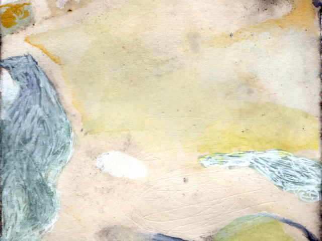 """Scape"" mixed media on plant-dyed paper, 3""x3"""
