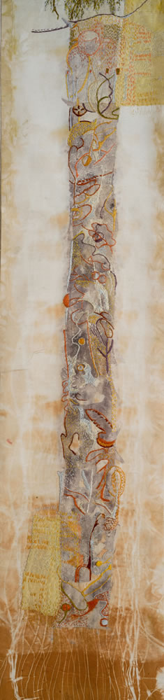 """Willow"" hand stitching on plant-dyed silk, 39""x10"""