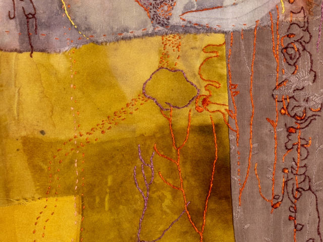 """Solstice Migration"" Hand stitching on hand-dyed silk mounted on linen (detail)"